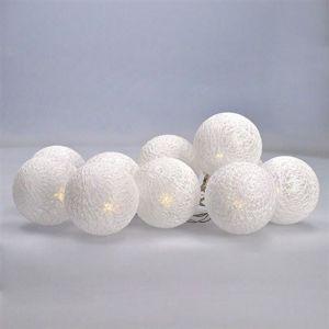 Solight LED řetěz vánoční koule bavlněné, 10LED řetěz, 1m, 2x AA, IP20 1V201 Teplá bílá