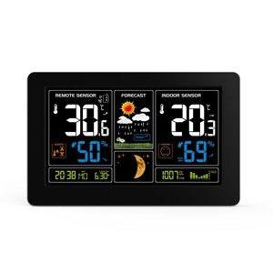 Solight meteostanice, extra velký barevný LCD, teplota, vlhkost, tlak, RCC, USb nabíjení, černá TE81