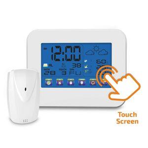 Solight meteostanice, velký dotykový barevný LCD, vnitřní/venkovní teplota, vlhkost, bílá TE84