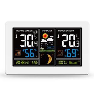 Solight meteostanice, extra velký barevný LCD, teplota, vlhkost, tlak, RCC, USB nabíjení, bílá TE81W