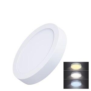 Solight LED mini panel CCT, přisazený, 12W, 900lm, 3000K, 4000K, 6000K, kulatý WD170 Studená bílá