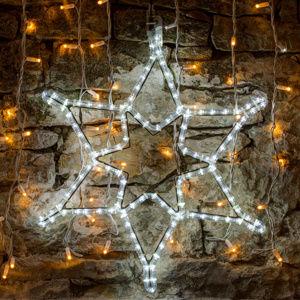 LED světelný motiv - hvězda, ledově bílá, pr. 60 cm