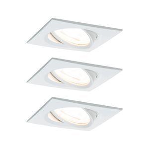 PAULMANN Vestavné svítidlo LED Nova hranaté 3x6,5W GU10 bílá mat výklopné 3-krokové-stmívatelné 934.72 P 93472